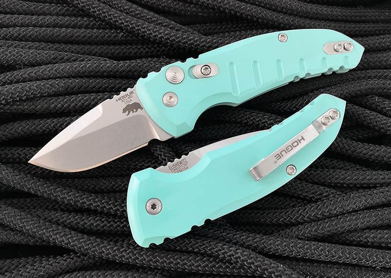 มีดออโต้ Hogue A01-Microswitch AUTO Folding Knife, Aquamarine Aluminum Handles (24123)