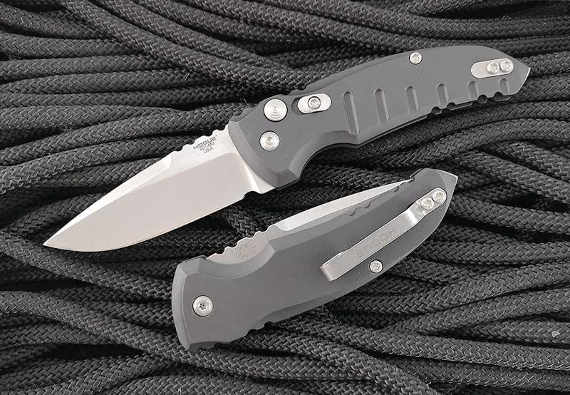มีดออโต้ Hogue A01-Microswitch AUTO Folding Knife Drop Point Blade, Gray Aluminum Handles (24112)