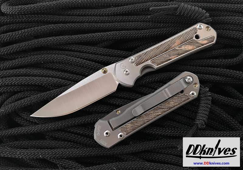 มีดพับ Chris Reeve Small Sebenza 21 Titanium Handles with Striped Platan Wood Inlays (S21-1234)