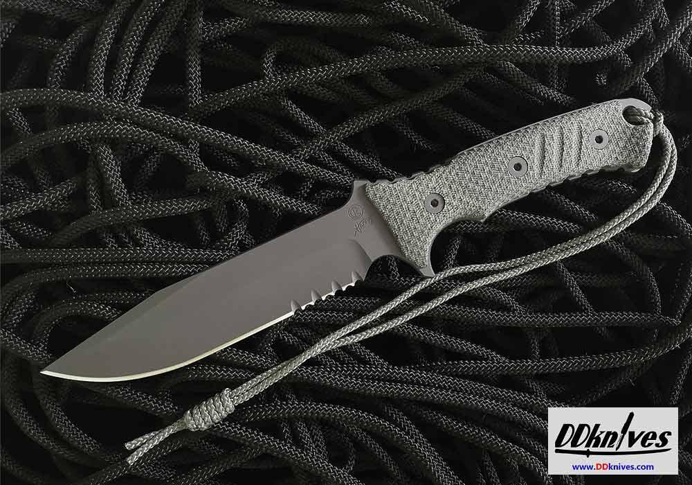 มีดใบตาย Chris Reeve Pacific Combat Knife Fixed S35VN Black Combo Blade, Micarta Handles (PAC-1001)