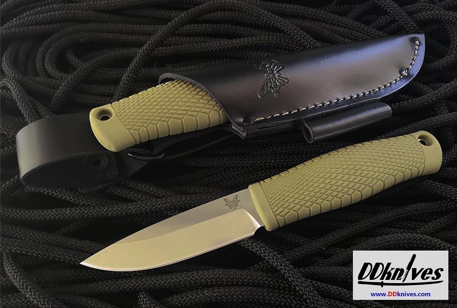 มีดใบตาย Benchmade Puukko Fixed Blade Knife CPM-3V Satin, OD Green Santoprene Handle (200)