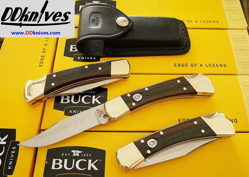 มีดออโต้ Buck 110 AUTO Folding Hunter Plain Blade, Ebony Wood Handles, Leather Sheath (0110BRSA)