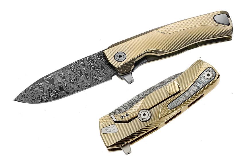 มีดพับ LionSteel ROK Frame Lock Knife Damascus Blade, Gold Titanium Handles (ROK DD GL)