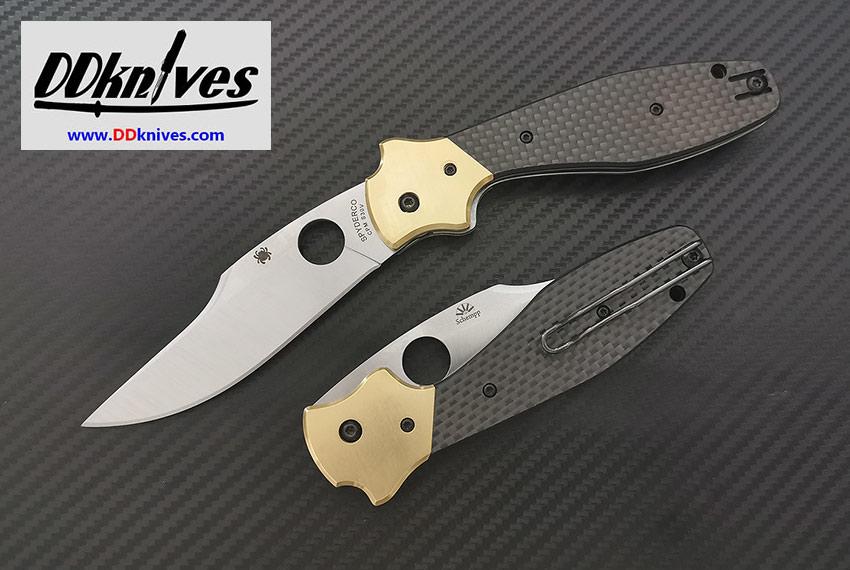 มีดพับ Spyderco Schempp Bowie Folder S30V Plain Blade, Carbon Fiber Handles (C190CFP)