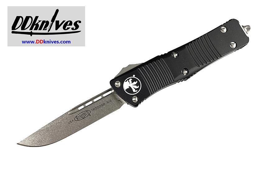 มีดออโต้ Microtech Troodon S/E OTF Automatic Knife Stonewash Blade, Black Handles (139-10)