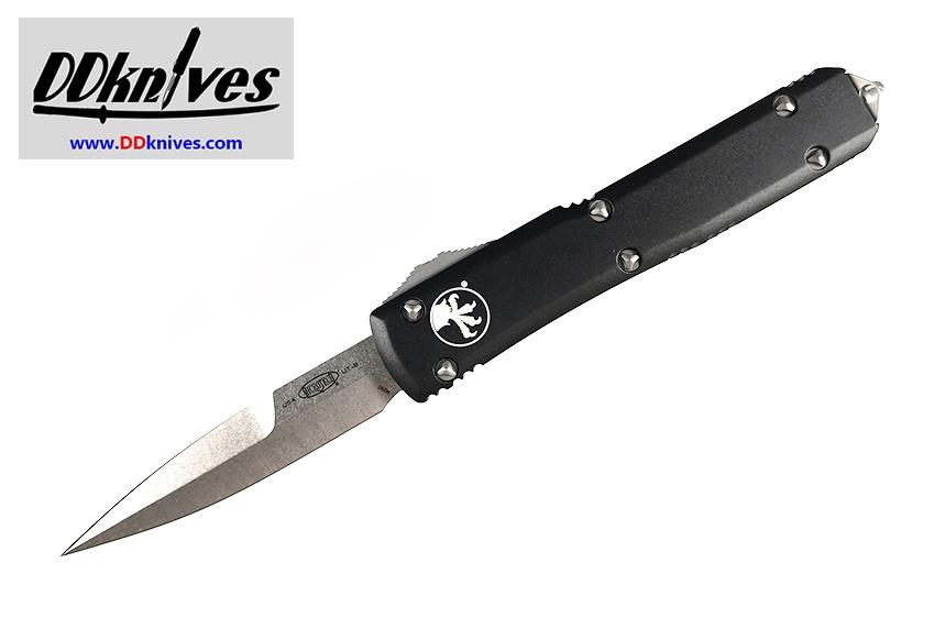 มีดออโต้ Microtech Ultratech Bayonet OTF Automatic Knife Stonewash Blade, Black Handles (120-10)