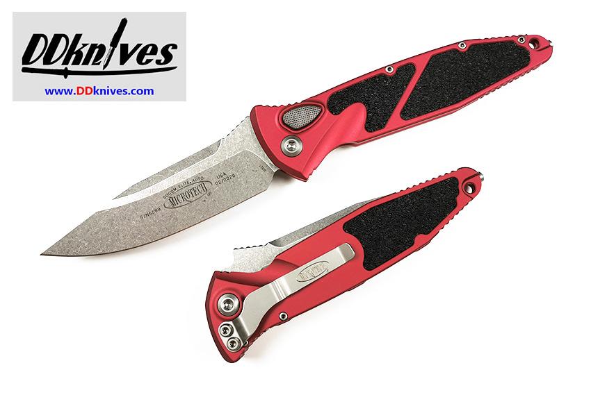 มีดออโต้ Microtech Socom Elite S/E Automatic Knife Stonewash Blade, Red Handle (160A-10RD)