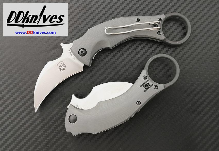มีดคารัมบิท Fox Knives Black Bird Folding Karambit Stonewashed Blade, Gray G-10 Handles (FX-591SW)