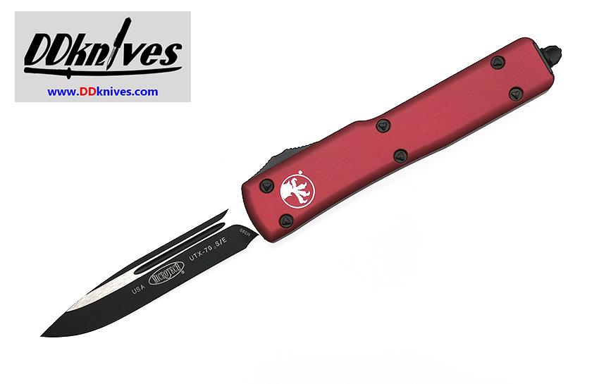 มีดออโต้ Microtech UTX-70 S/E OTF Automatic Knife Black Blade, Red Handles (148-1RD)