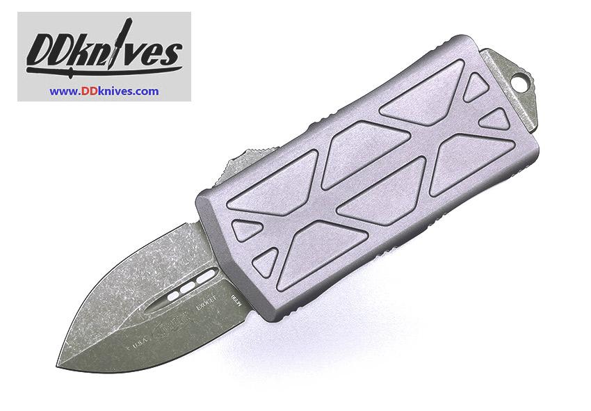 มีดออโต้ Microtech Exocet Dagger OTF Automatic Knife Apocalyptic Blade, Gray Handles (157-10APGY)
