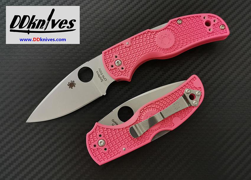 มีดพับ Spyderco Native 5 Folding Knife S30V Satin Plain Blade, Pink FRN Handles (C41PPN5)