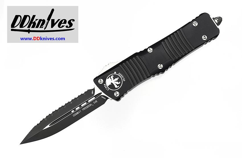 มีดออโต้ Microtech Combat Troodon D/E OTF Automatic Knife Black Blade, Black Handles (142-3)
