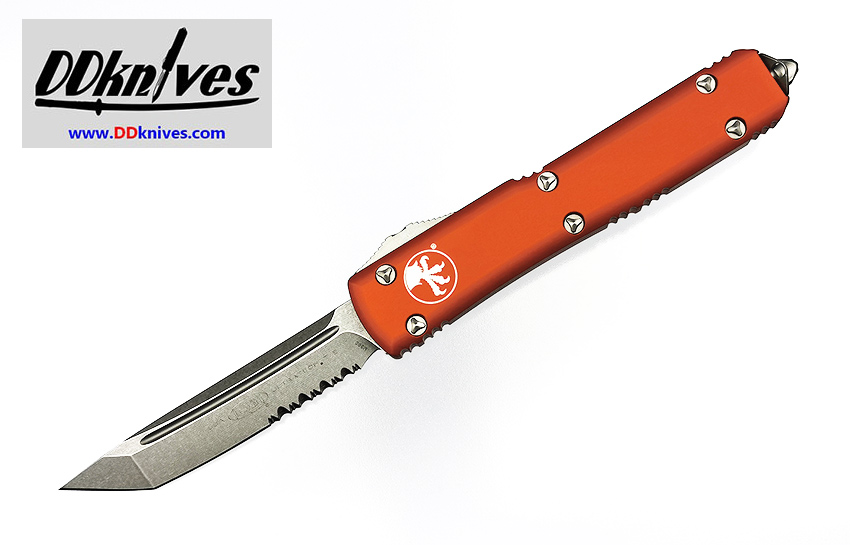 มีดออโต้ Microtech Ultratech T/E OTF Automatic Knife Stonewash Blade, Orange Handles (123-11OR)