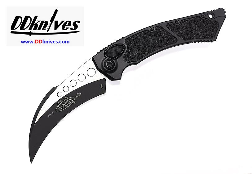 มีดออโต้ Microtech Hawk Automatic Knife Black Tactical, Black Handles (166-1T)