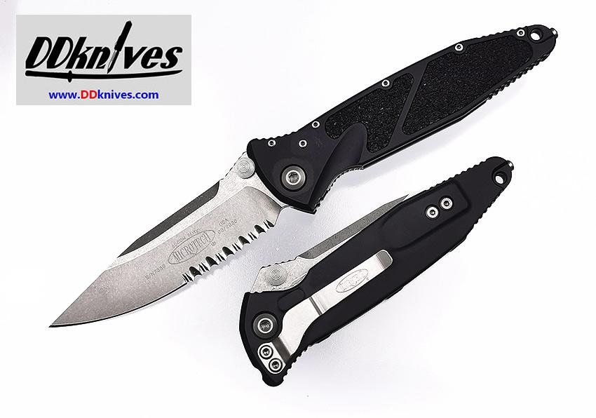 มีดพับ Microtech Socom Elite S/E Folding Knife Stonewash Partial Serrated, Black Handles (160-11)