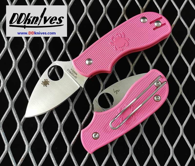 มีดพับ Spyderco Squeak Folding Knife N690CO Blade, Pink FRN Handles (C154PPN)
