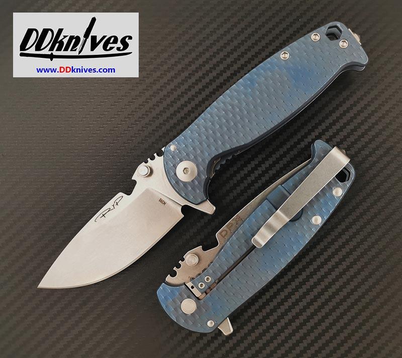มีดพับ DPx HEST/F 3.0 3D Ti Flipper Knife M390 Blade, 3D Machined Blue Titanium Handles (DPHSF010)