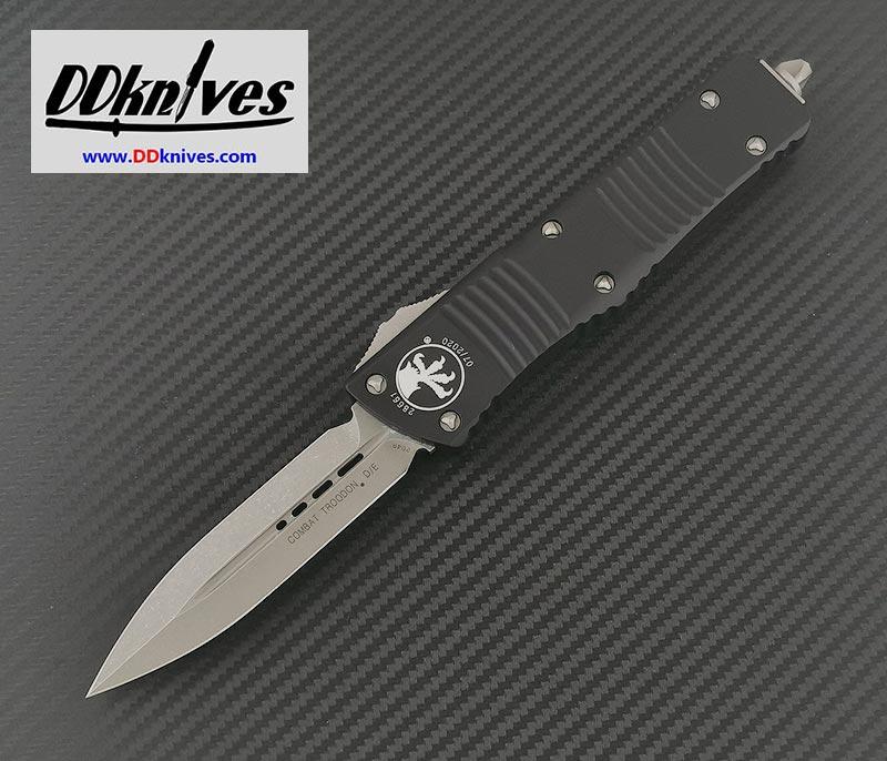 มีดออโต้ Microtech Combat Troodon D/E OTF Automatic Knife Apocalyptic Blade, Black Handles(142-10AP)