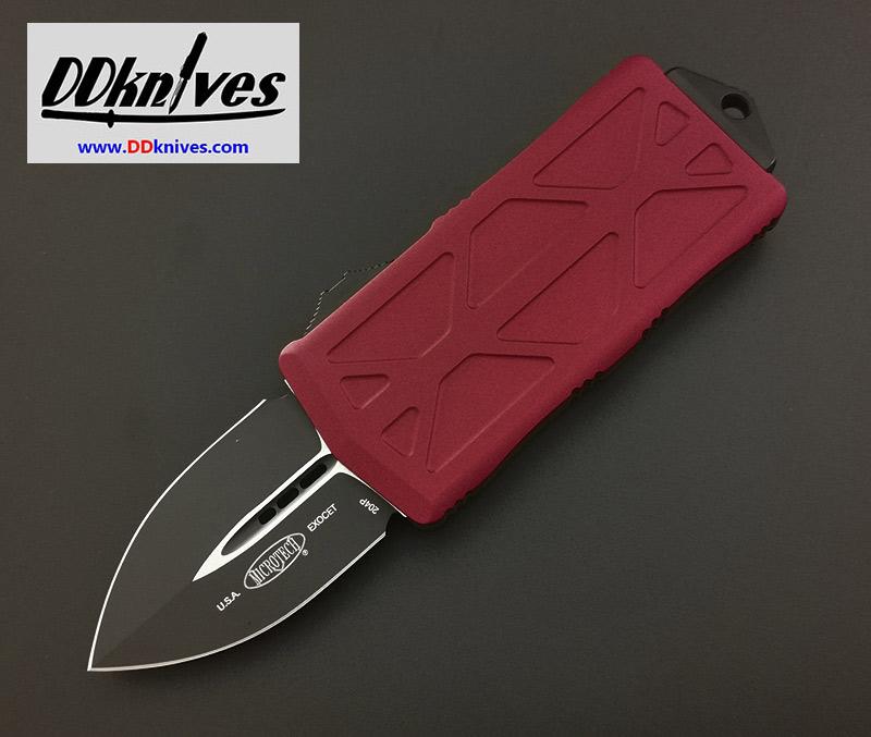 มีดออโต้ Microtech Exocet Dagger OTF Automatic Knife Black Blade, Red Handles (157-1RD)