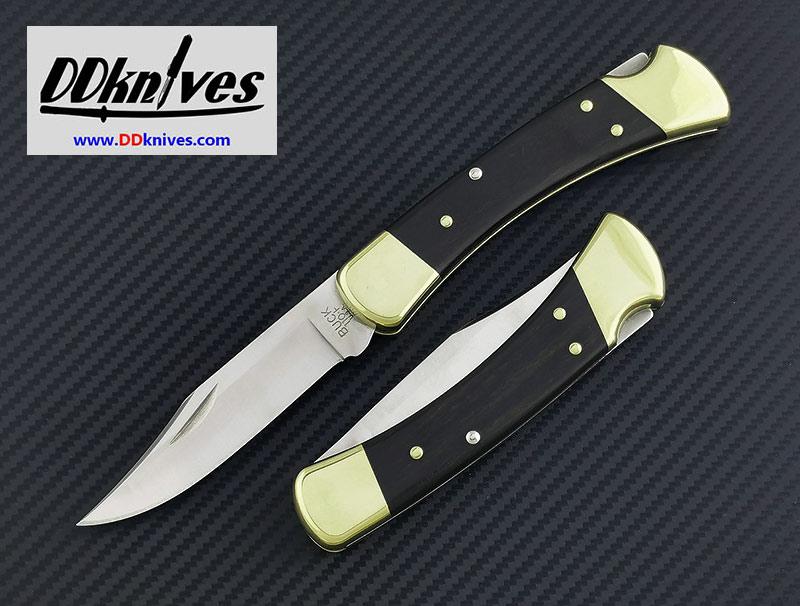 มีดพับ Buck 110 Folding Hunter, Ebony Wood Handles, Leather Sheath (110BRS-B)
