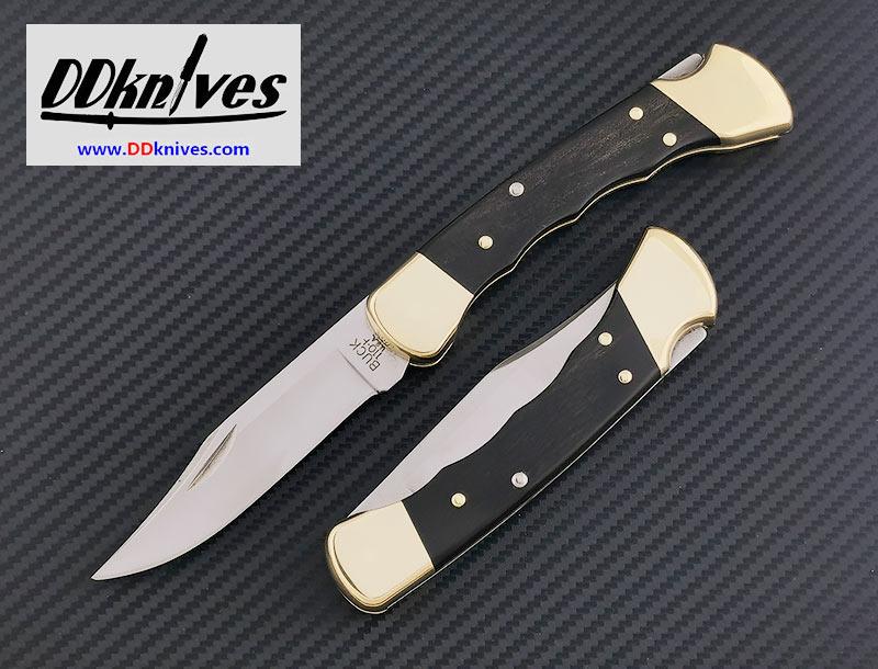 มีดพับ Buck 110 Folding Hunter, Finger Grooved, Ebony Wood Handles, Leather Sheath (110BRSFG)
