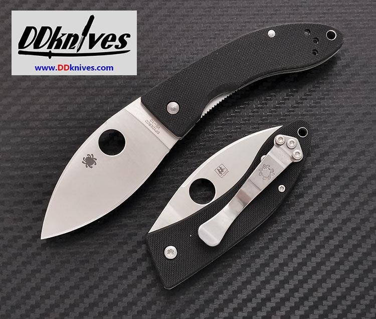 มีดพับ Spyderco Lil\' Lum Chinese Folding Knife VG-10 Satin Plain Blade, Black G-10 Handles (C205GP)