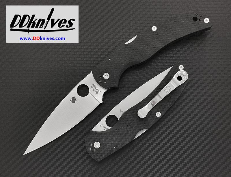 มีดพับ Spyderco Native Chief Folding Knife S30V Satin Plain Blade, Black G10 Handles (C244GP)