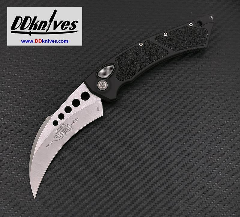 มีดออโต้ Microtech Hawk Automatic Knife Stonewash Blade, Black Handles (166-10)