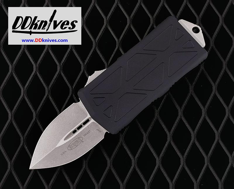 มีดออโต้ Microtech Exocet Dagger OTF Automatic Knife Stonewash Blade, Black Handles (157-10)