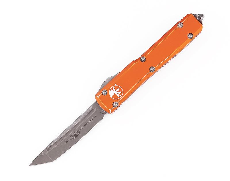 มีดออโต้ Microtech Ultratech T/E OTF Automatic Knife Apocolyptic, Orange Distressed (123-10DOR)