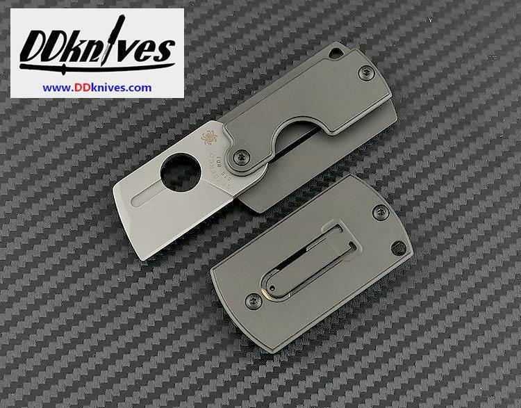 มีดห้อยคอ Spyderco Dog Tag Gen 4, CTS-BD1 Saber Ground Blade, Gray Aluminum Handles (C188ALP)