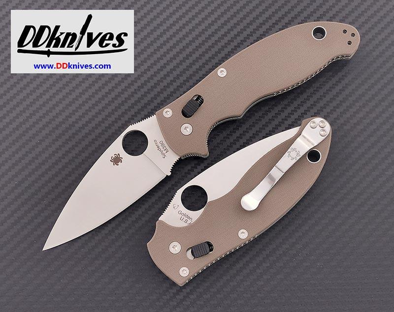 มีดพับ Spyderco Manix 2 M390 Satin Plain Blade, Brown G10 Handles, Exclusive (C101GPBN2)