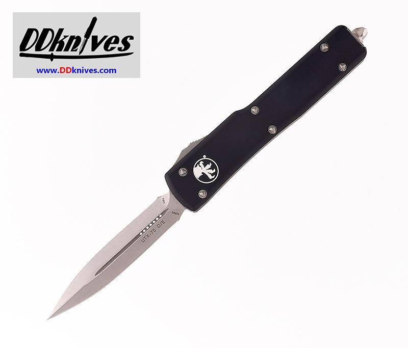 มีดออโต้ Microtech UTX-70 D/E OTF Automatic Knife Stonewash Blade, Black Handles (147-10)