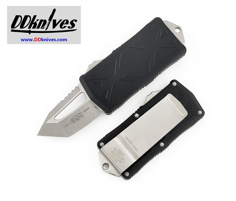 มีดออโต้ Microtech Exocet Tanto OTF Automatic Knife Stonewash Blade, Black Handles (158-10)