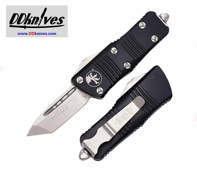มีดออโต้ Microtech Troodon Mini T/E OTF Automatic Knife Stonewash Blade, Black Handles (240-10)