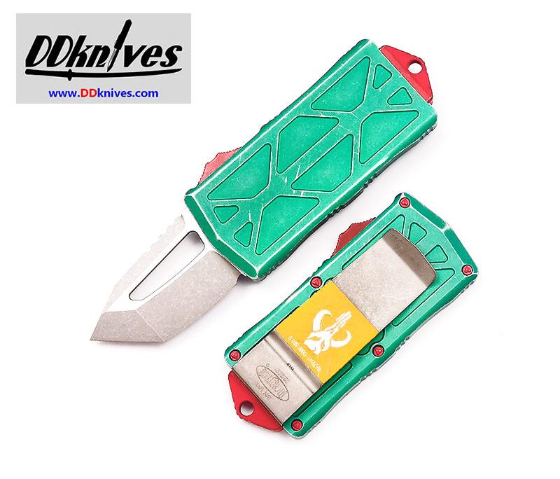 มีดออโต้ Microtech Exocet Bounty Hunter Tanto OTF Automatic Knife Apocalyptic Blade (158-10BH)