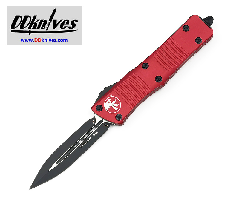 มีดออโต้ Microtech Troodon D/E OTF Automatic Knife Black Blade, Red Handles (138-1RD)