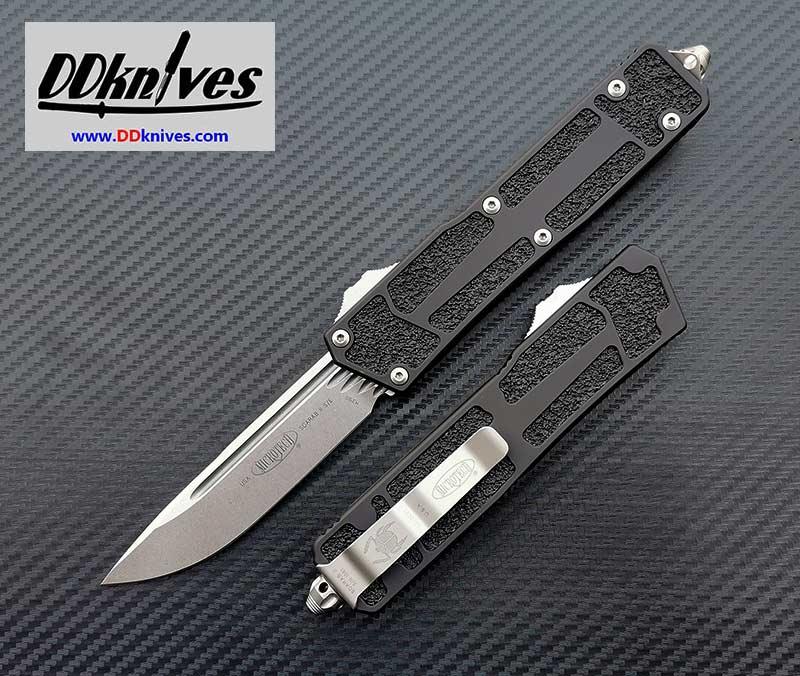 มีดออโต้ Microtech Scarab II S/E OTF Automatic Knife Stonewash Blade, Black Handles (278-10)