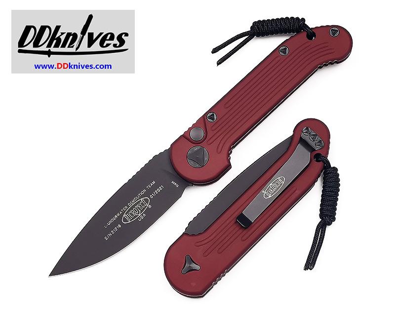 มีดออโต้ Microtech LUDT Automatic Knife S/E Black Blade, Merlot Red Handles (135-1MR)