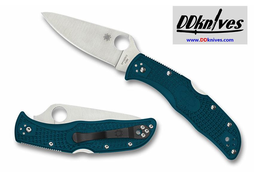 มีดพับ Spyderco Endela Lightweight K390 Satin Plain Blade, Blue FRN Handles (C243FPK390)