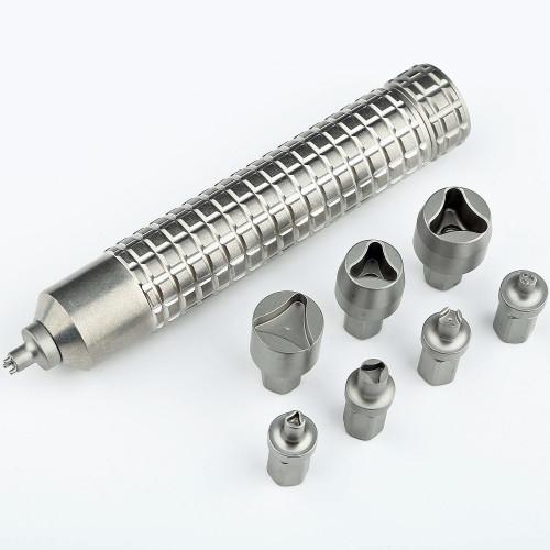 ชุดเครื่องมือสำหรับถอดมีด Microtech Tool Kit with 8 Bits, Satin Stainless Steel (98-4MK)