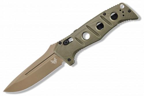 มีดออโต้ Benchmade AUTO Adamas, CruWear Flat Dark Earth Blade, OD Green G10 Handles (2750FE-2)