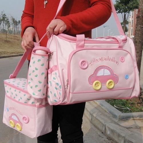 กระเป๋าเก็บเครื่องปั๊มนม สัมภาระคุณแม่ เซต 3 ใบ ยี่ห้อ MotherCare ราคาถูกที่สุด สีชมพู