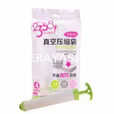 ถุงสูญญากาศ Compression Bag 4 ชิ้น/ชุด มาพร้อมกระบอกสูบอากาศ