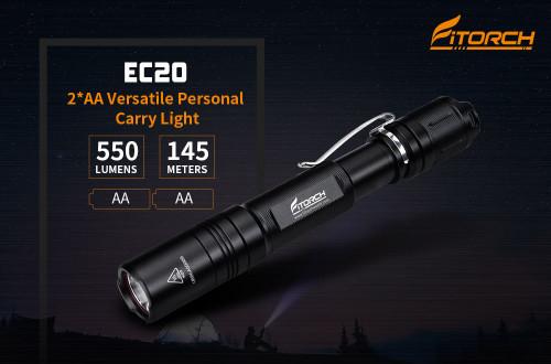 Fitorch EC20 550 lumens ไฟฉายขนาดเล็กทรงปากกา ใช้แบต AA จำนวน 2 ก้อน