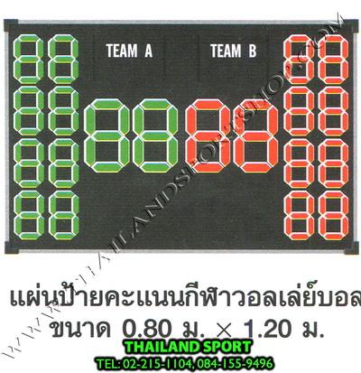ป้ายคะแนน วอลเลย์บอล รุ่น มาตรฐาน (ขนาดป้าย กว้าง 1.20 m. x สูง 0.80 m.)