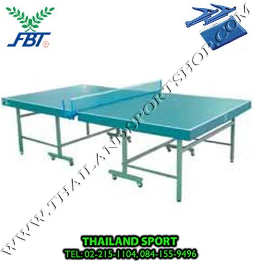 โต๊ะปิงปอง เทเบิลเทนนิส F.B.T. รุ่น แข่งขัน ขอบหนา 4 นิ้ว (ชนิดพับได้ มีล้อเลื่อน สีเขียว G) NNNN