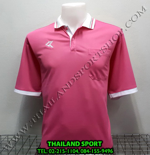 เสื้อโปโลกีฬา POLO เรียล REAL รุ่น RAC-008 (สีชมพู P) มีกระเป๋า