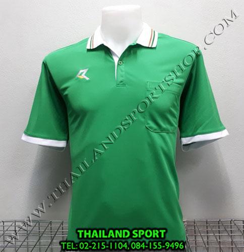 เสื้อโปโลกีฬา POLO เรียล REAL รุ่น RAC-008 (สีเขียว G) มีกระเป๋า