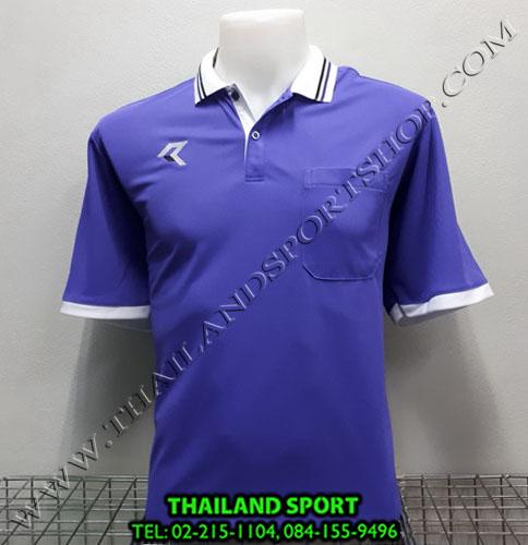 เสื้อโปโลกีฬา POLO เรียล REAL รุ่น RAC-008 (สีม่วง V) มีกระเป๋า